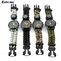 Accept Dropshipping Outdoor Camping Flint Fire Starter Compass Watch Whistle Survival Gear Paracord Cutting Knife Rescue