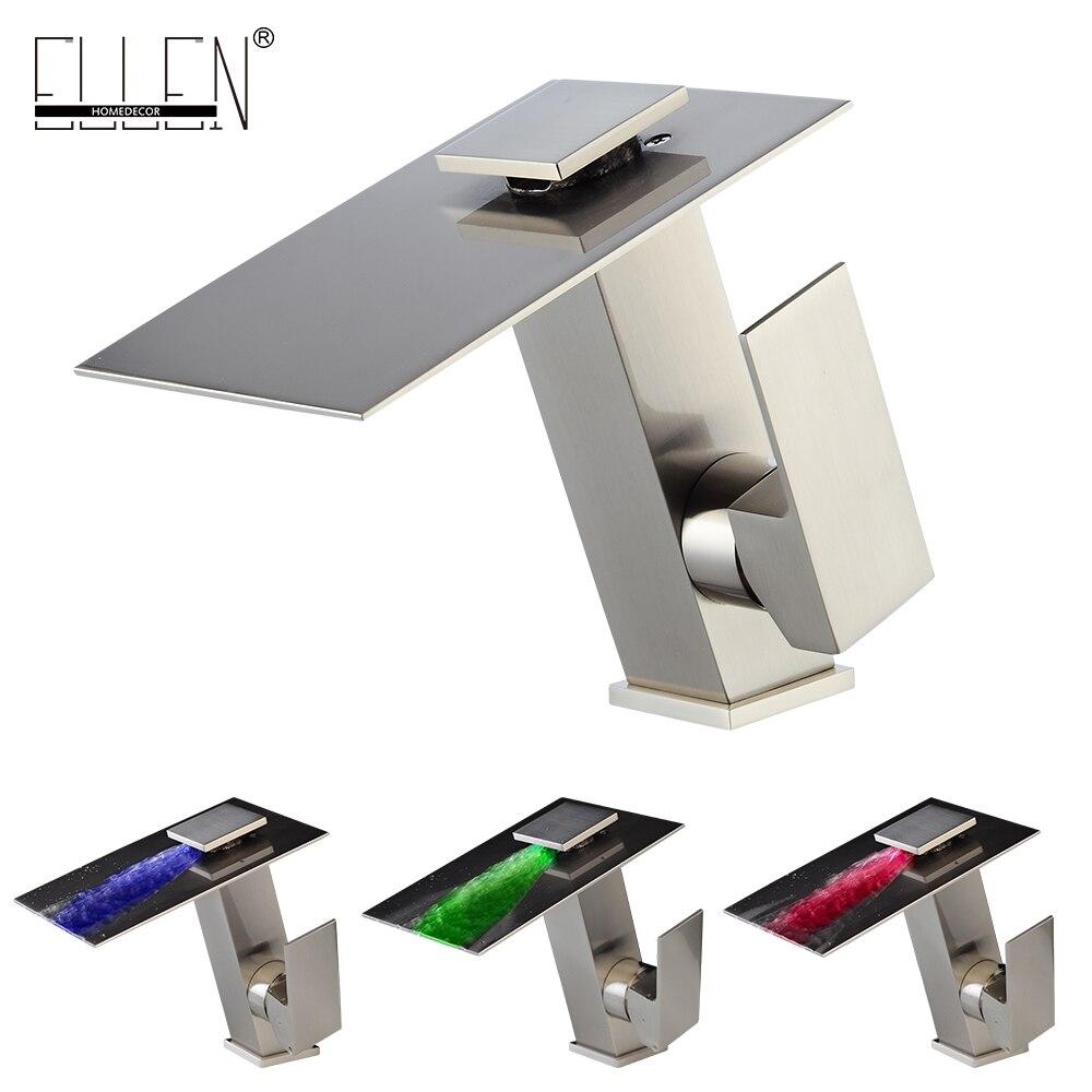 LED Ванная комната кран Водопад бассейна раковина смеситель 3 цвета Контроль температуры Никель Кисточки отделка