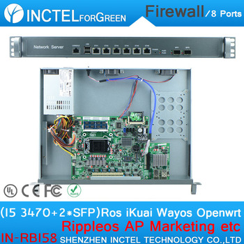 Intel Core I5 3470 CPU 1U Rack Ears Network Server Firewall with 1000M 6 82574L 2 groups Bypass 2 82580DB Fiber