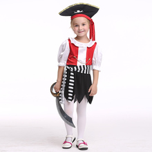 EK169 Pirate Costume for Girls Halloween Outfit Dress Red Baby Cosplay New Year Christmas Costumes