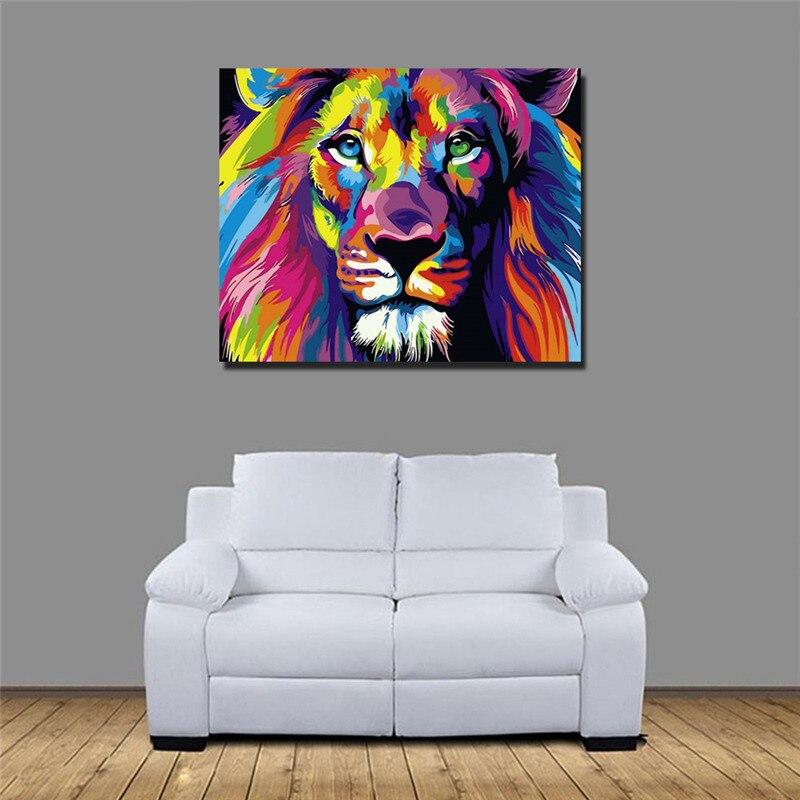 40 cm X 50 cm colorido Animal pintura por número Artificial Semi-producto terminado pintado a mano la pintura al óleo DIY hogar Decoración de la Oficina