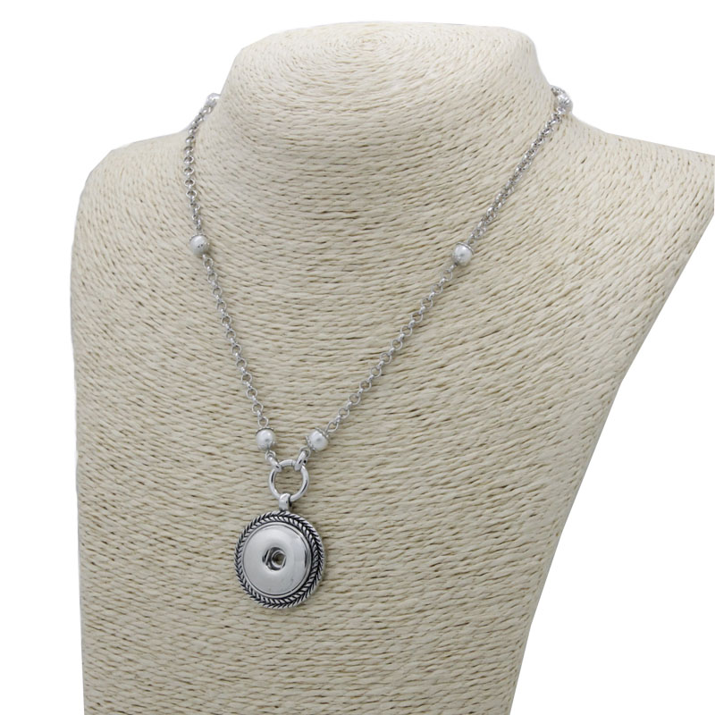 Interchangeable Disc Necklace: Fashion Charm Jewelry Round Disc Pendant Pearl Choker
