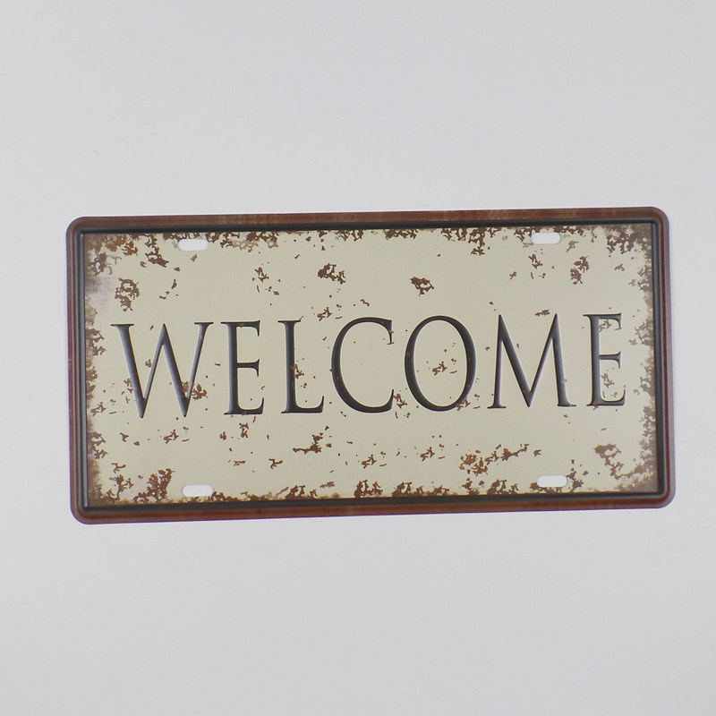 hohppyme Welcome Plaque Metal Vintage Sign Garage License Plate Metal Plates For Wall Decoration Home Decor 15x30 cm
