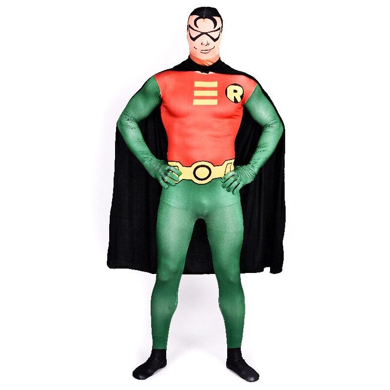 Men Superhero Green Arrow Halloween Cosplay Costume with Cloak Green Orange Lycra Spandex Pattern Zentai Bodysuit