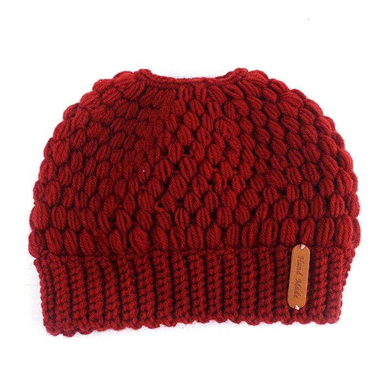 2019 Di Modo Di Nuovo Caldo Caps Femminile Lavorato A Maglia Alla Moda Delle Signore Del Cappello Coda Di Cavallo Beanie Cappelli Di Inverno Per Le Donne Crochet Del Knit Cap Top Angurie
