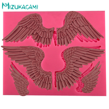 Angel Wings Liquid Silicone Molds Flip Sugar Chocolate Super Light Clay Cake Decoration Baking MJ-00921