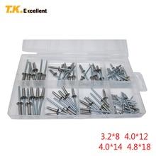 T. k. ممتازة مسامير مصمتة/البوب المسامير 304 الفولاذ المقاوم للصدأ + Q195 الكربون الصلب المضادة للتآكل 3.2*8 4*12 4*14 4.8*18 76 قطع