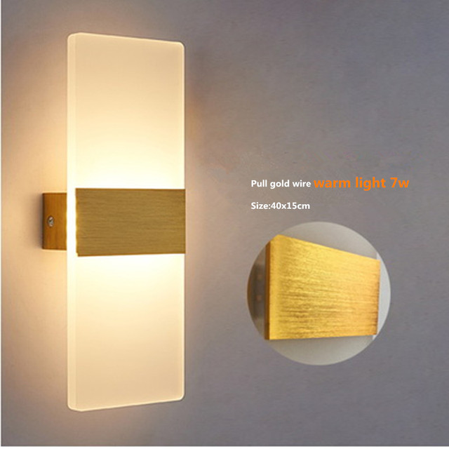 7w Led Acrylic Wall Lamp Mounted Bedroom Lights Decorative Living Room Stair Corridor Sconce Warm Light