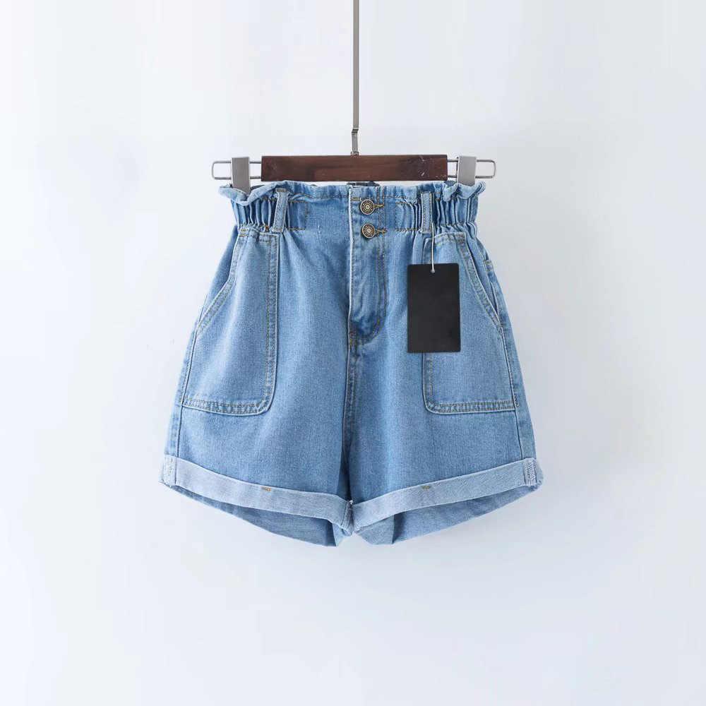 2019 kobiety na co dzień krótkie spodnie lato niebieski szerokie nogawki wysokiej talii Denim spodenki dżinsowe