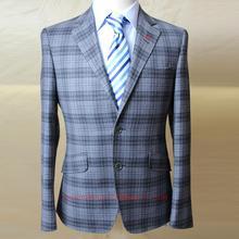 grey wool big window plaid MAN'S business casual coat, SINGLE BUTTON 2 slant pocket, bespoke tailor MTM jacket. free shipping