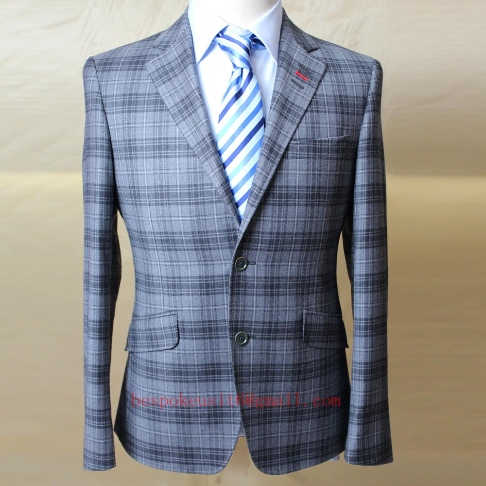grey wool big window plaid MANS business casual coat, SINGLE BUTTON 2 slant pocket, bespoke tailor MTM jacket. 2018 VA