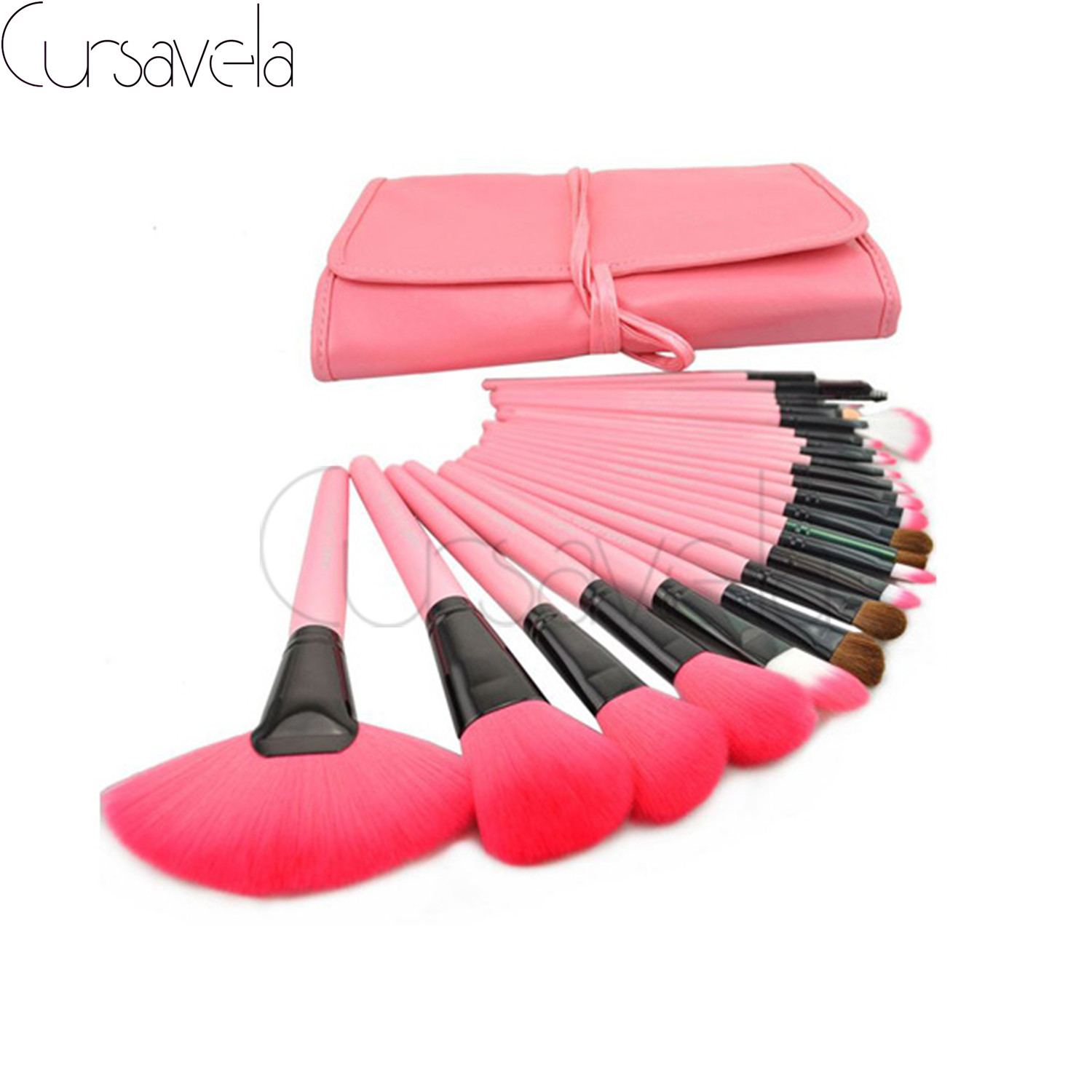 24 pcs Makeup Brushes Set Goat Hair Professional Brown Makeup Brush Foundation Powder Blush Eyeliner Brushes With PU Bag EAB030 030 brown