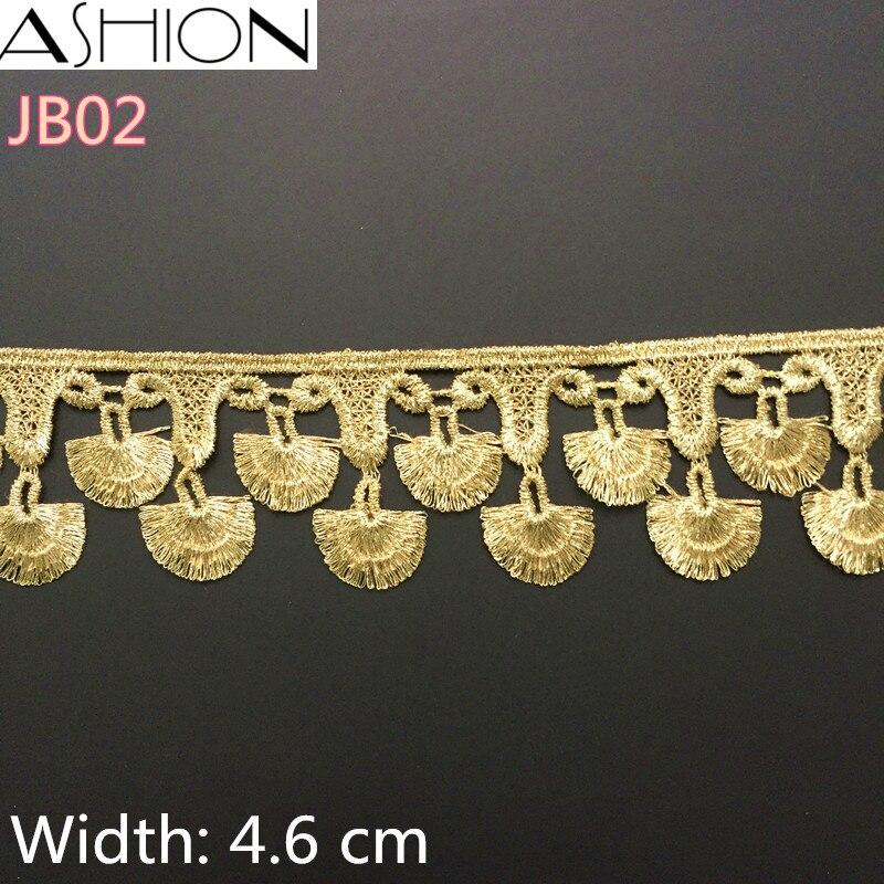 3 야드 LP-JB02 폭 46 미리 메터 골드 레이스 직물, DIY 의류 액세서리, 재봉 가장자리 트림 웨딩 레이스, 레이스 소재