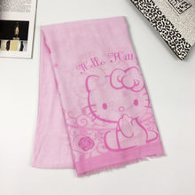 bbb1fedb1 New Hello Kitty Scarf Girl Children Cartoon Pink Cat Print Shawl Tassel Scarf  Hello Kt Kitty Women Voile Bali Yarn Scarf Kid