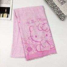 90cb4c829 New Hello Kitty Scarf Girl Children Cartoon Pink Cat Print Shawl Tassel Scarf  Hello Kt Kitty