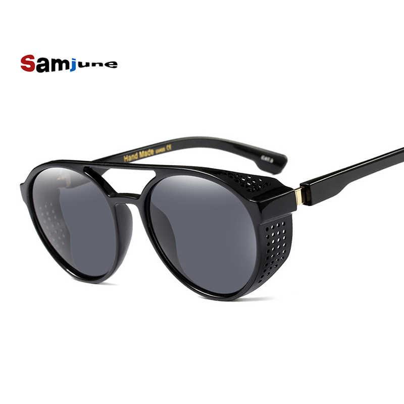 Samjune Steampunk แว่นตากันแดดผู้หญิงผู้ชาย Retro แว่นตารอบแว่นตา steam punk Vintage แว่นตาแฟชั่น Oculos de sol
