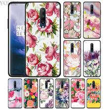watercolor floral rose sakura Phone Case for Oneplus 7 7Pro 6 6T Oneplus 7 Pro 6T Black Silicone Soft Case Cover