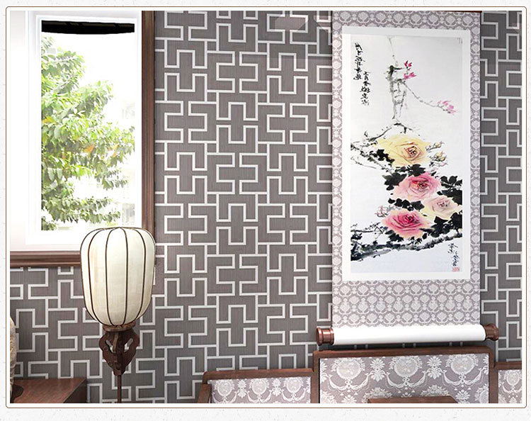 cheap Chinese Style wallpapers Vintage Geometric Grid wallpaper for living room Paper back vinyl wallpaper papel de parede