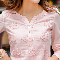 Fashion T Shirt Women Summer Casual V Neck Top Tee Flower Female Clothing Lace T Shirt Tops