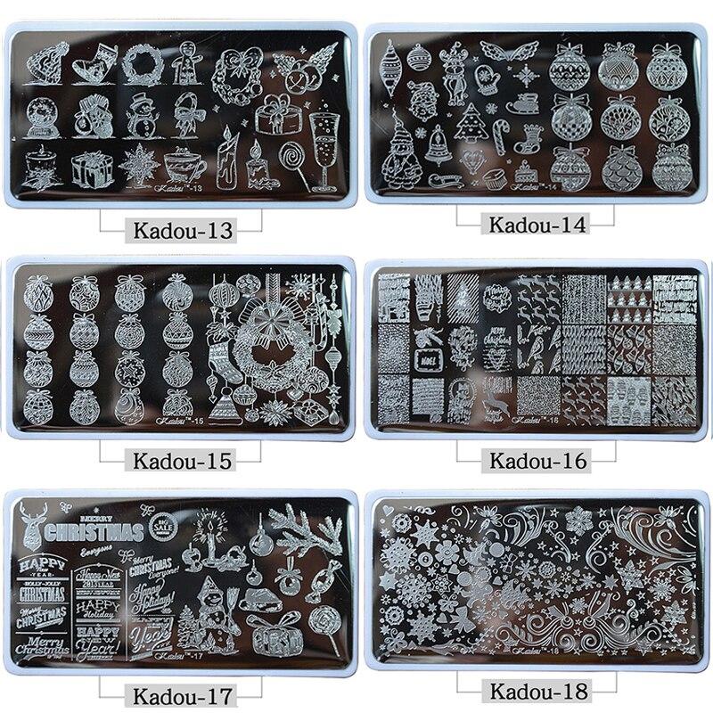 1* Nail Stamping Plates 2019 Fashion Nail TEMPLATE Cartoon/ Flower Christmas Steel Stamp Template Nail Polish Stencils Kadou7-22