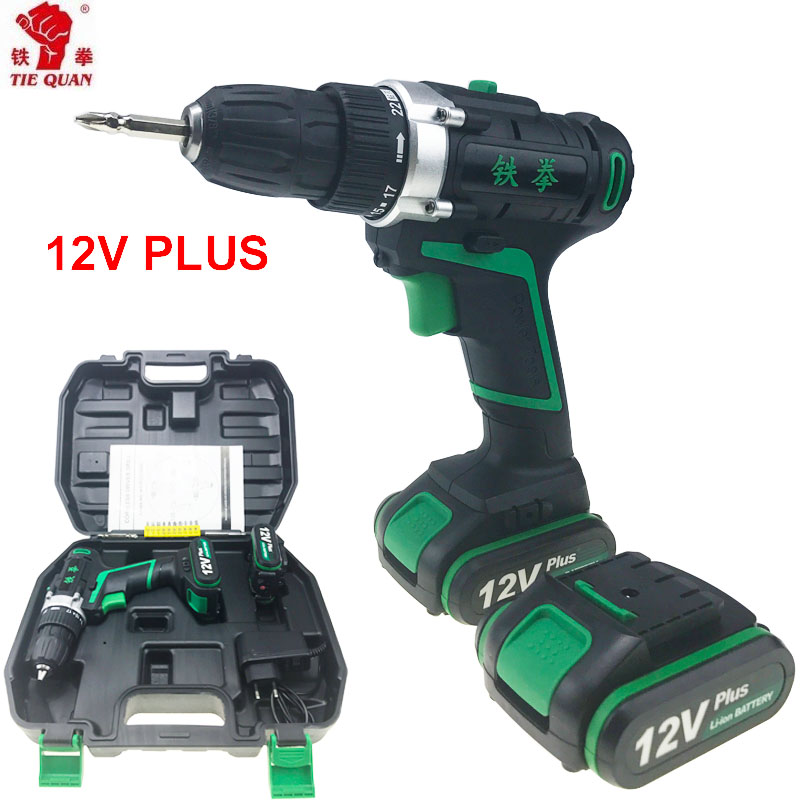 12V power tools Electric Cordless Drill  electric Drill electric drilling battery drill  Mini PLUS 2 Batteries Screwdriver 220v electric drill power tools