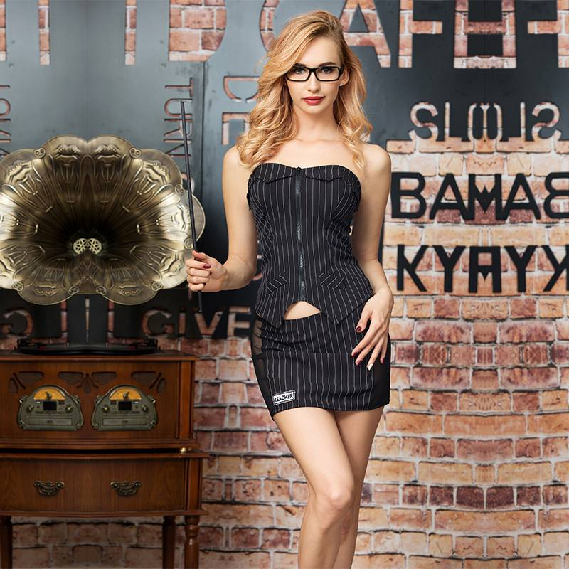 Sexy teacher cosplay costumes outfit women erotic teacher uniform polyester stripe dress for ladies role play costume 6307