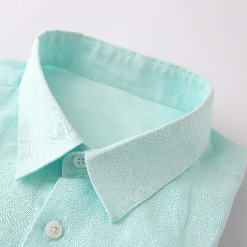 Linen Shirts Men Custom Made Streetwear Long Sleeve Mens Dress Shirts Men Clothes 2018 Casual Slim Fit 100% Linen Man Shirt