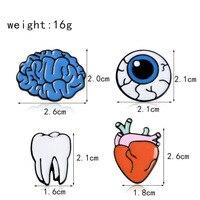 Human Organs Medical Brooches Pin Organ Brooch Brain Eye Tooth Enamel Lapel Pins Cute Medical Gifts