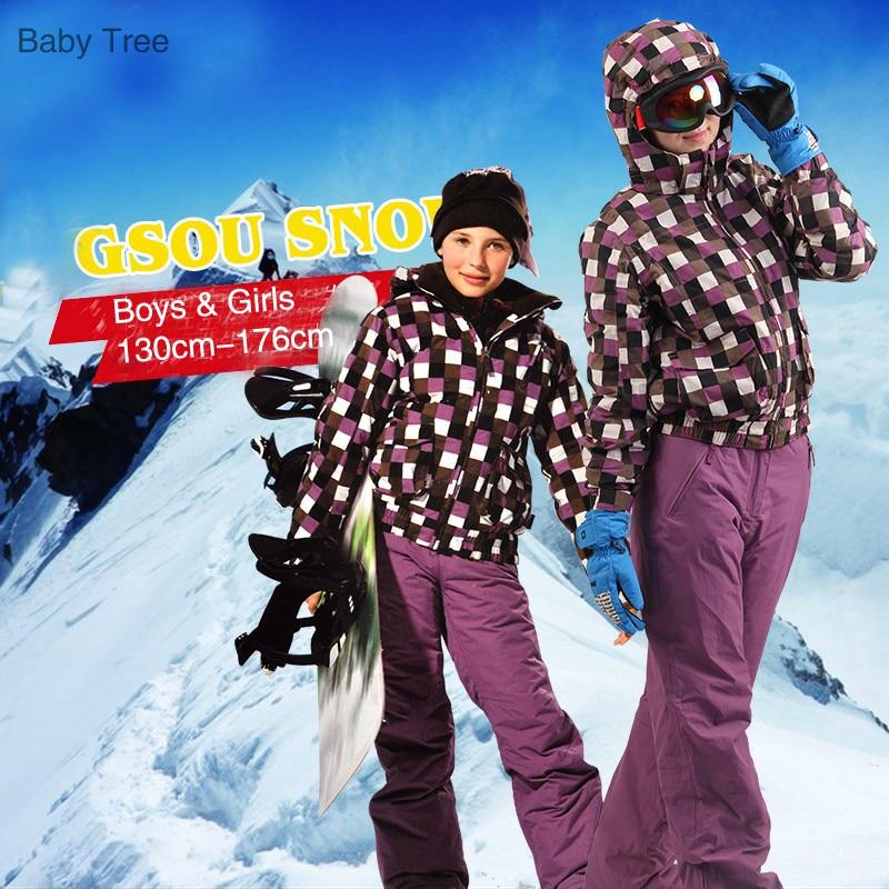 130cm-176cm Brand Children Outerwear Ski Suit 2pcs Skiing Jackets +Pants Sport Kids Clothes Set Teenager Boys Girls Snow Suits