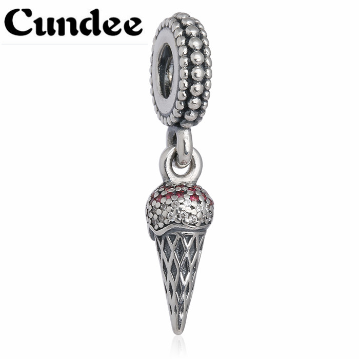 Autumn Ice Cream Dangle bead Charms With Red & Clear CZ Fits Europe Bracelets Pave Pendant 925 Sterling Silver Fine Jewelry