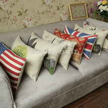 Fashion Free shipping 4pcs/lot 30*50cm cushion covers,cotton linen printed lumbar series,Pastoral thick pillow case for sofa/car