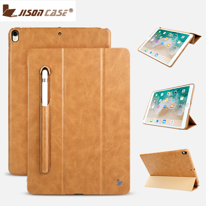 Jisoncase Leather Case For iPad Pro 10.5 Inch With Kickstand And Pencil Slot Luxury Shockproof Folio Tablet cover For iPad Pro shockproof case for ipad pro 10 5 military duty armor kickstand pc silicone stand cover case for apple ipad pro 10 5 inch tablet