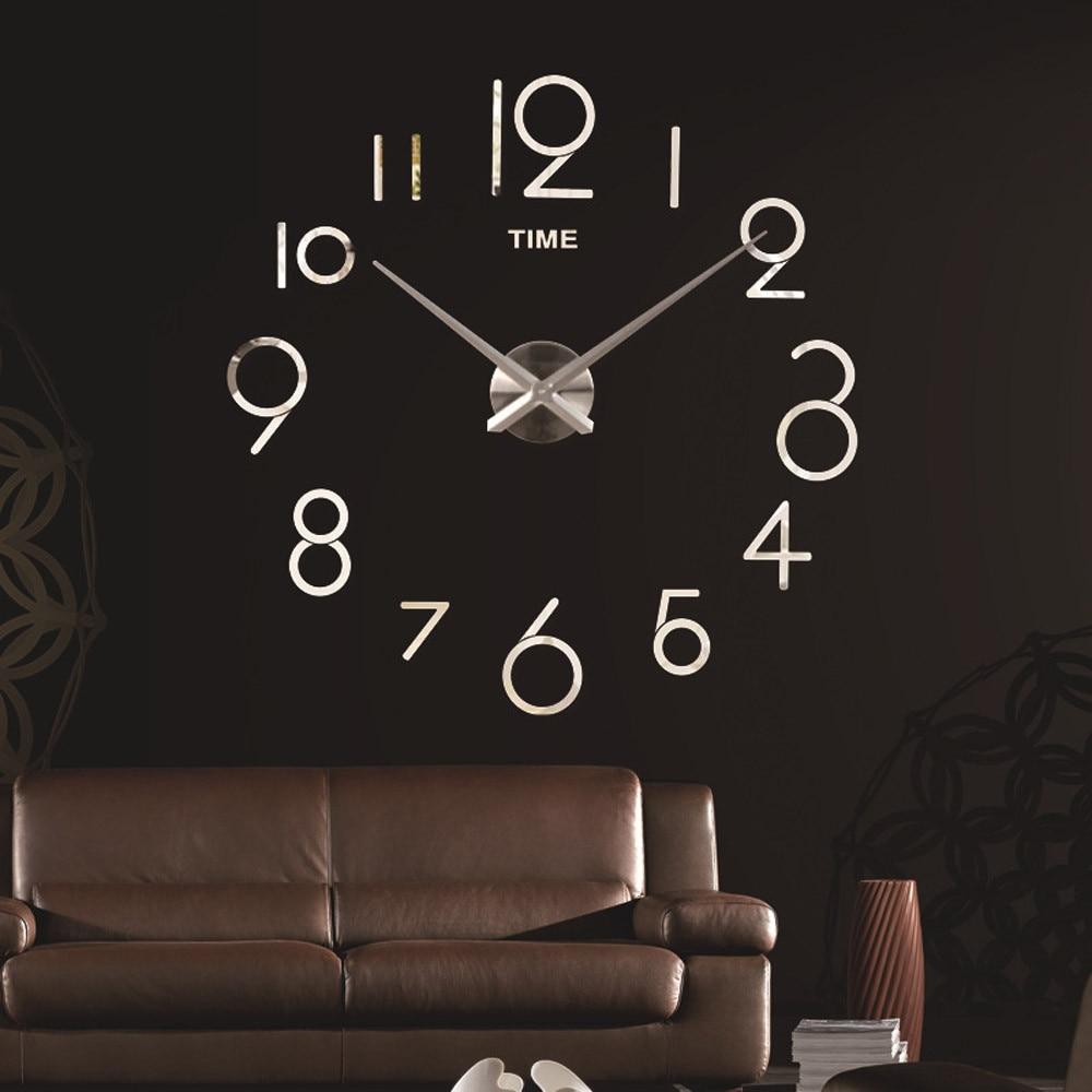 Home Modern Wall Clock Watch Living Room Quartz Needle Clock Fashion DIY 3D Home Decoration Mirror Large Art Design Bedroom