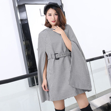 Cloak Coats New 2017 Women Autumn Fashion Elegant Lattice Stripes Bat Sleevee Single Breasted Belt Hot Designer Gray Coat(China)