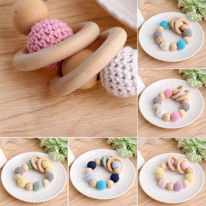 2017 Baby  Wood Wooden Teether Bracelet Crochet Beads Teething Ring Play Chewing Toy   Gift NOV3_15