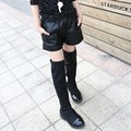 New Winter Children Black Girls PU Leather Boots Kids Shorts Black