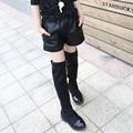 New Winter Children Black Girls PU Leather Boots Kids Shorts Black