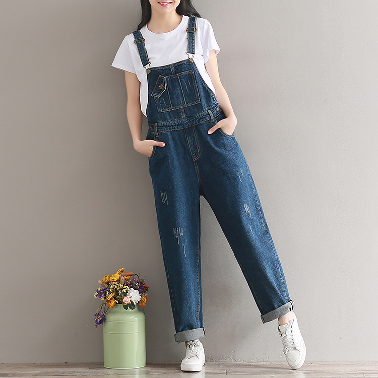 2019  Artistic wash denim cotton suspenders for girls with wide legs (11)
