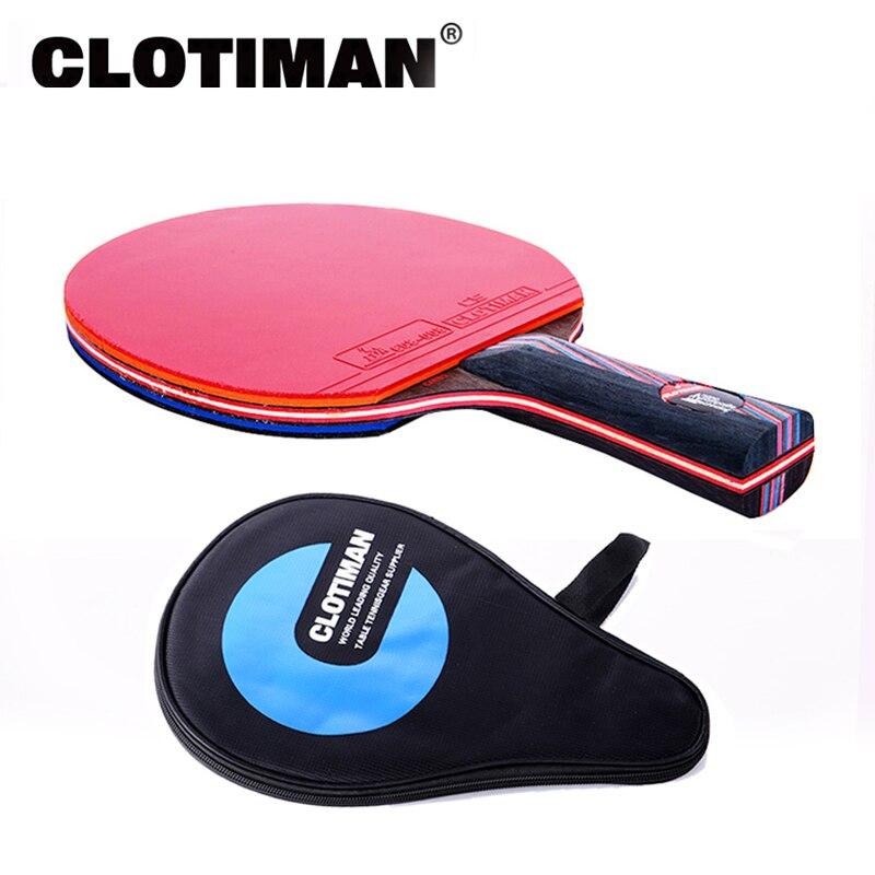 Ракетка для настольного тенниса из углеродного волокна, 7 слоев, длинная ручка, короткая ручка, горизонтальная рукоятка, ракетка для настольного тенниса, резиновая лопатка