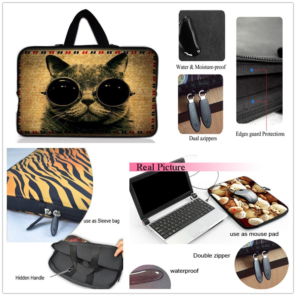 9.7 10.6 11.6 13 13.3 14 17 17.3 15 15.6 Laptop Sleeve Case Bag Cover+Hide Handle For HP DELL ASUS Toshiba Acer Sony