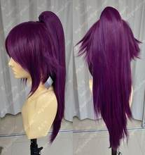 Wig Bleach Shihouin Yoruichi 60cm Purple Lolita Cosplay Party Wig w/ Ponytail(China)