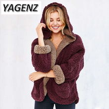 YAGENZ New 2017 Fashion Winter Hooded Jacket Warm Lady Coat Loose Bat sleeve Both Sides Lamb Wool Coat Solid color Female Coats