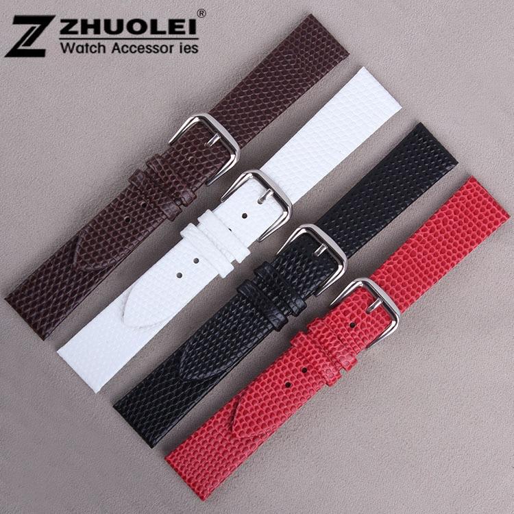 Watch band12mm 14mm 16mm 18mm 20mm Lizard Pattern Black Genuine Leather Watch bands Strap Bracelets Silver Pin Watch Buckle
