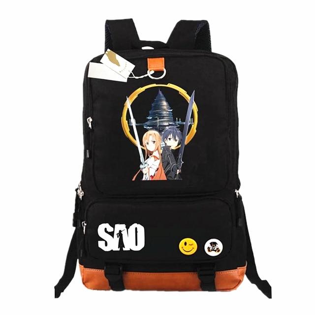 f9a511b836b Anime espada arte en línea SAO lona mochila hombres mujeres mochilas  Cosplay mochila escolar estudiantes mochilas