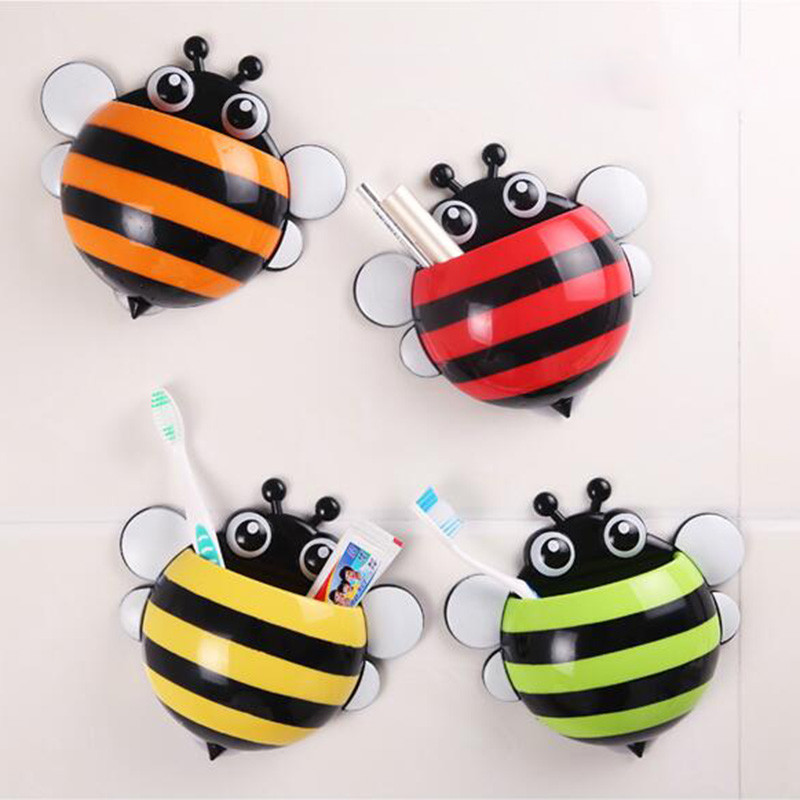 Ladybug Suction Cup Toothbrush Holder Cute Bee Snails Wall Mounted Tooth Brush Holder Toothbrush Storage Rack Bathroom Set