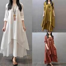 Beach Style Fashion Women  Autumn Cotton Linen Long Sleeve Maxi Dress Shirt Size M-2XL