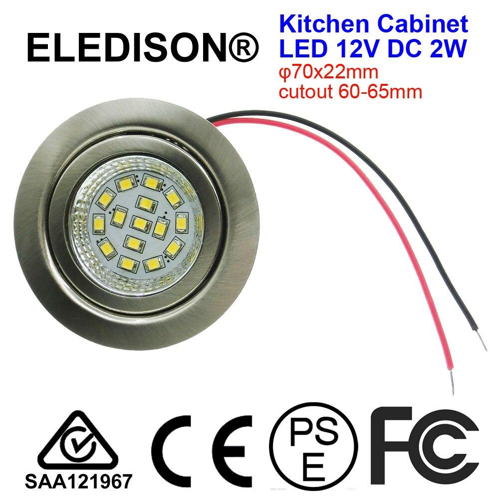 12V DC LED Cabinet Light 2W 60mm Hole Kitchen LED Hoods Bulb Ventilator Light Boat RV Touring Car Yacht Solar Power LED Light