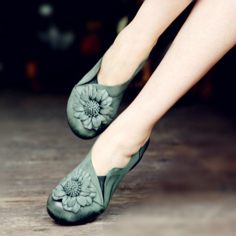 Фото Discount Spring Womens Pumps Blue Sheepskin Ladies 5CM Heel Shoe Genuine Leather Handmade Women