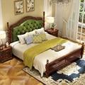 Современная Европейская кровать из цельного дерева  модная резная кожаная французская мебель для спальни c1902