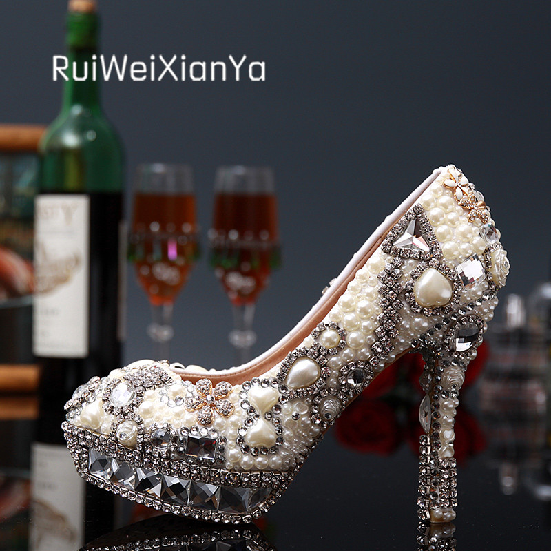 2017 New Fashion Spring Ladies Shoes Woman Pumps High Heels Luxury Bridal White Rhinestone Wedding Shoes Plus Size Hot 2017 new fashion spring ladies pointed toe shoes woman flats crystal diamond silver wedding shoes for bridal plus size hot sale